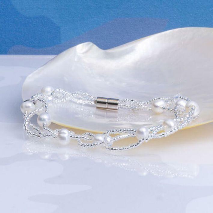 Bracelet 3 rangs perles de culture et de rocaille blanches les-perles