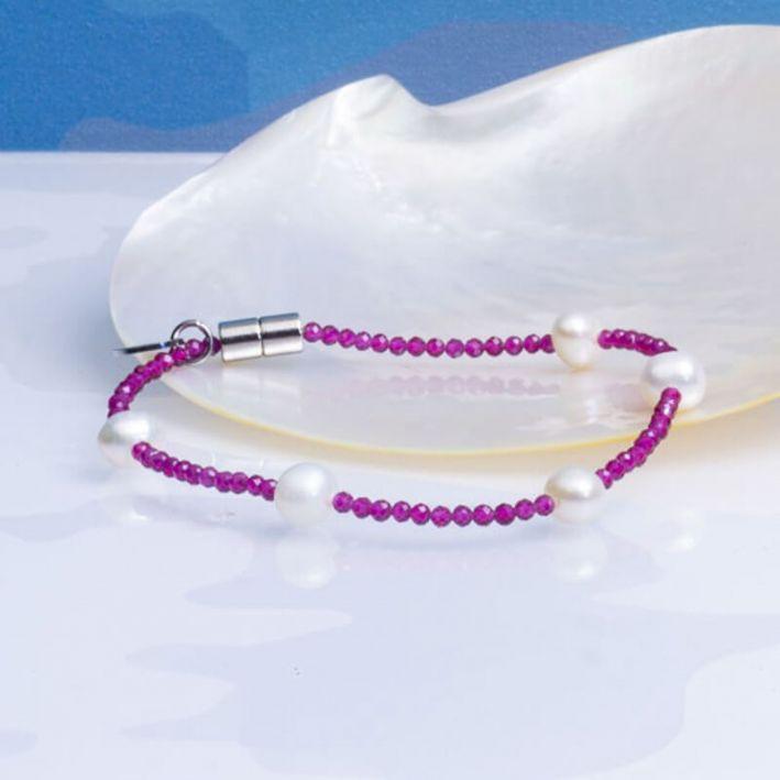 Bracelet cristal étincelant rose rubis et perles
