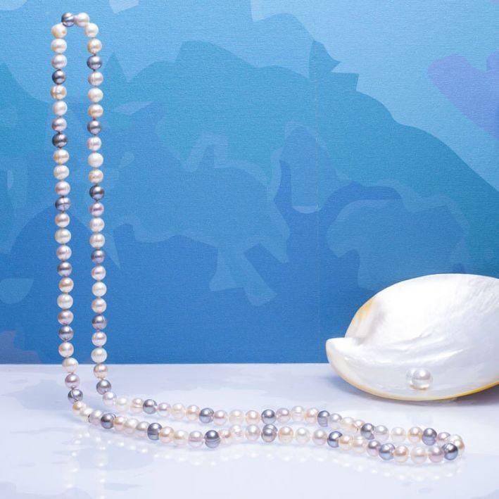Sautoir perles de culture trio blanc, rose et argenté