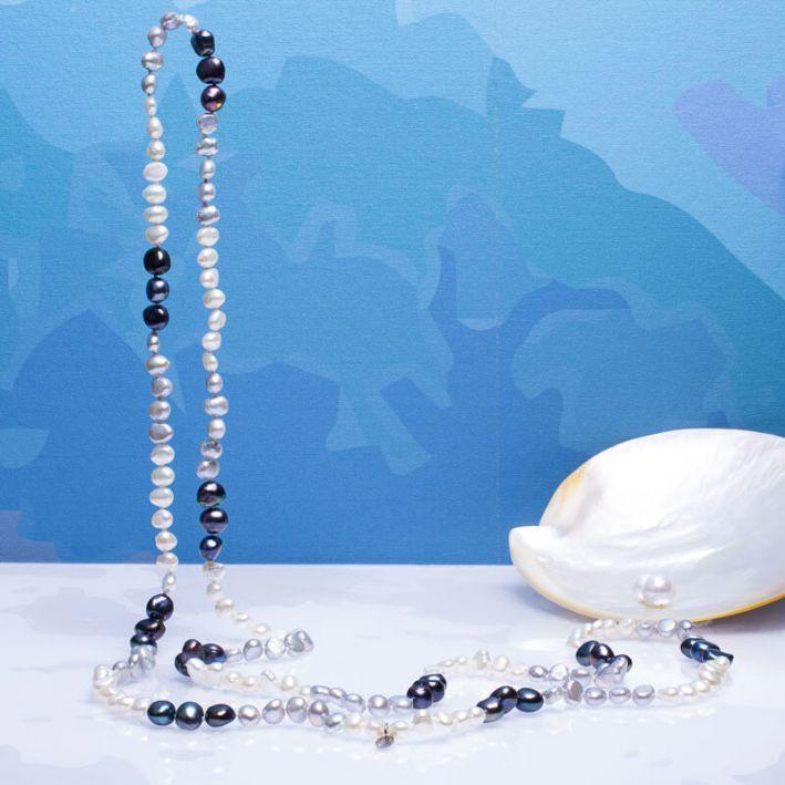 Sautoir perles de culture trio blanc, noir et argenté