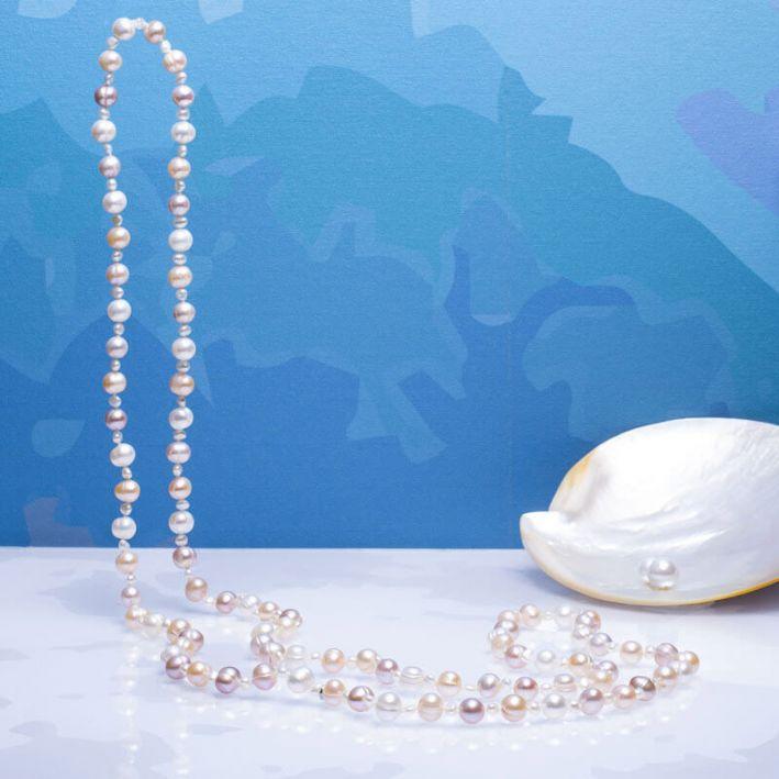 Sautoir perles de culture trio blanc, pêche et rose