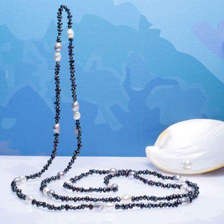 Long sautoir perles de culture baroques blanches et noires