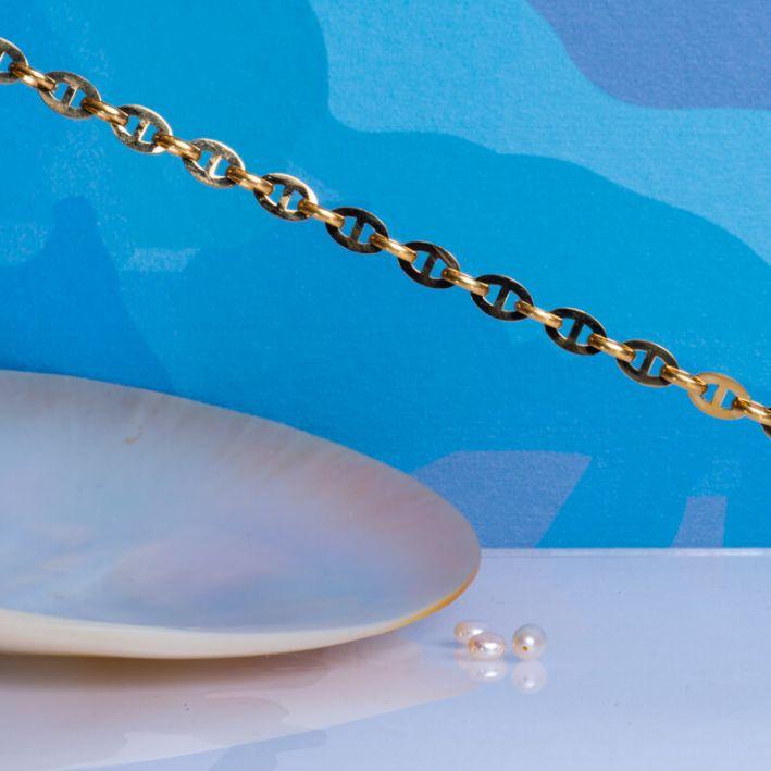 Bracelet grosses mailles marines et perle de culture blanche