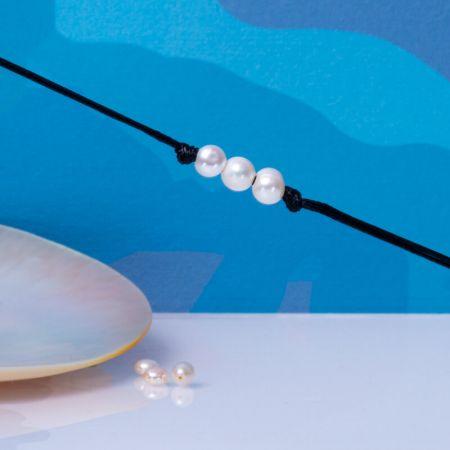 Bracelet homme trio perles baroques sur cordon cuir noir