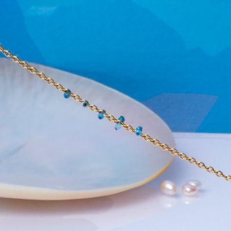 Bracelet pampilles perles naturelles bleues