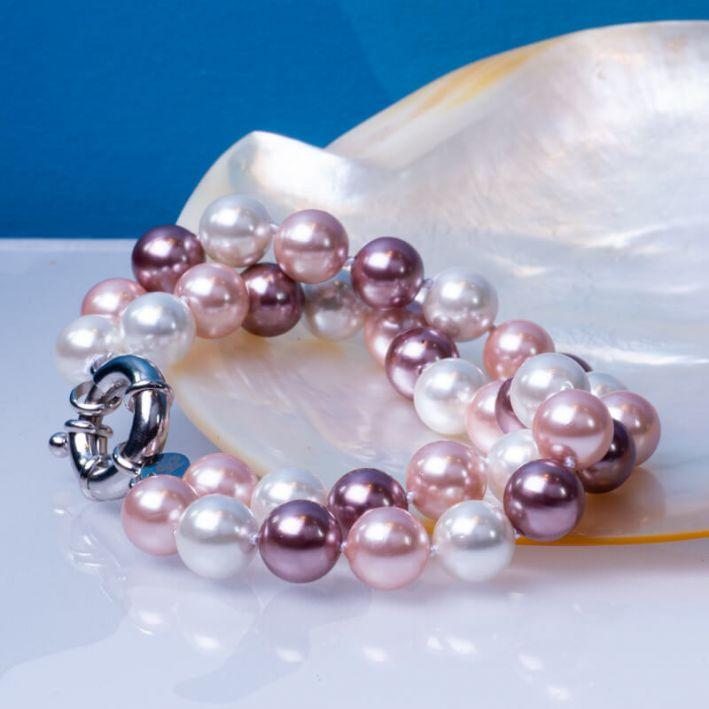 Bracelet 2 rangs de perles de nacre dégradé de roses
