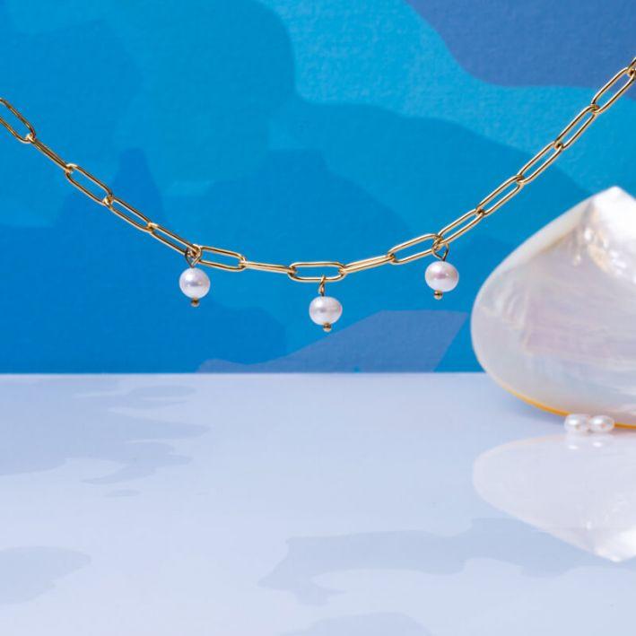 Collier grosses mailles et perles de culture baroques