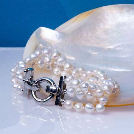 Bracelet 3 rangs de véritables perles de culture blanches